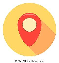 marqueur, carte, emplacement