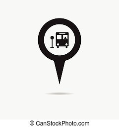 marqueur, carte, icon., autobus