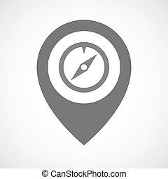 marqueur, carte, isolé, compas