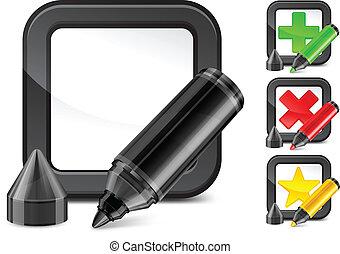 marqueur, check-box, marque