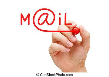 marqueur, courrier, concept, rouges