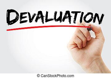 marqueur, dévaluation, écriture main