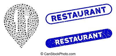 marqueur, elliptique, café, mosaïque, restaurant, cachets, détresse