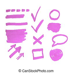 marqueur, ensemble, taches, highlighter, signes