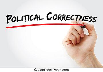 marqueur, exactitude, main, politique, écriture
