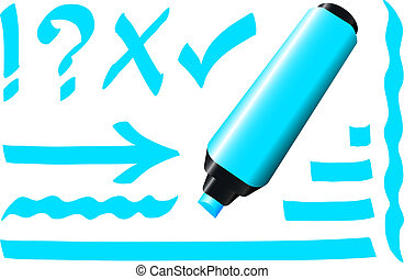 marqueur, fluorescent, bleu