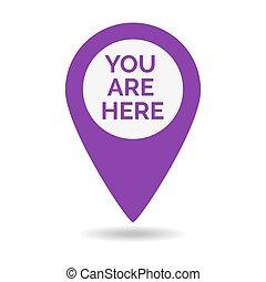 marqueur, ici, vous, icône, emplacement