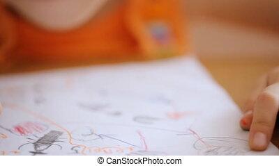 marqueur, image, dessiner, petit, mains