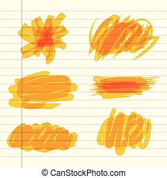 marqueur, jaune, scribbles