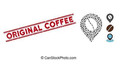 marqueur, ligne, café, mosaïque, timbre, original, détresse, haricot, icône