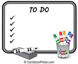 marqueur, liste, whiteboard, stylos