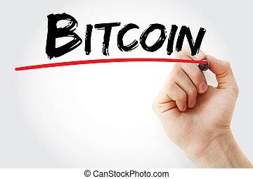 marqueur, main, bitcoin, écriture