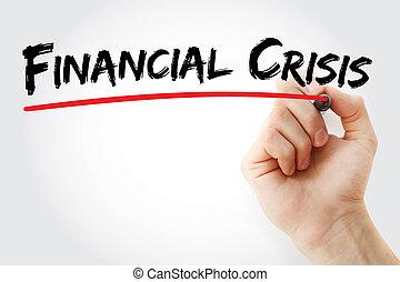 marqueur, main, financier, crise, écriture