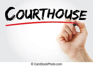marqueur, main, tribunal, écriture
