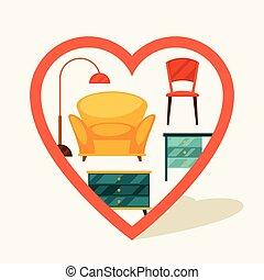 marqueur, meubles, navigation, retro, style.