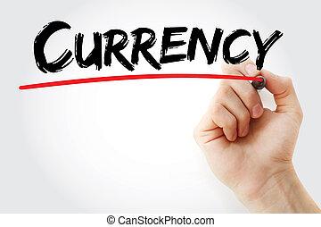 marqueur, monnaie, écriture main