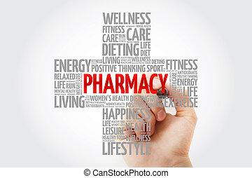 marqueur, mot, nuage, pharmacie
