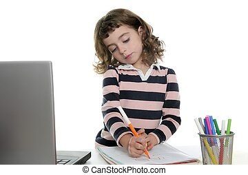 marqueur, ordinateur portable, dessin, girl, bureau