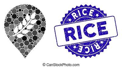 marqueur, riz, plantation, collage, icône, gratté, cachet