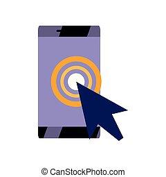 marqueur, téléphone, indicateur, emplacement