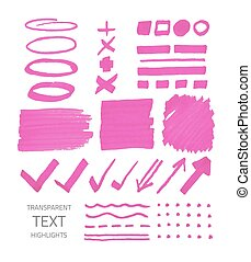 marqueur, taches, ensemble, highlighter, signes