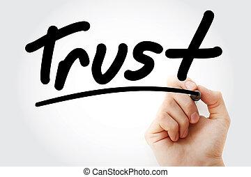 marqueur, texte, confiance