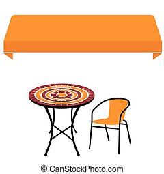 marquise, chaise, table