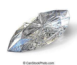 Marquise cut diamond, isolated on white background