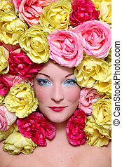 Marquise de roses - Beautiful young girl with stylish makeup...