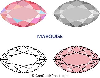 Marquise gem cut - Low poly colored & black outline template...