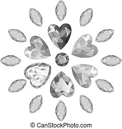 Marquise & heart cut gems - Texture of colored marquise &...