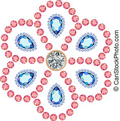 Marquise & round cut gems - Texture of colored marquise &...