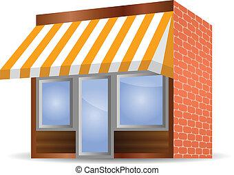 marquise, storefront, jaune