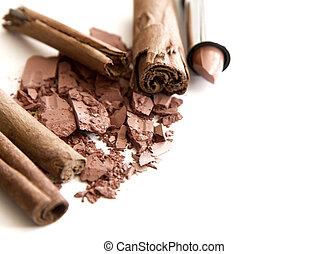 marrón, accesorios, maquillaje, natural, tonos