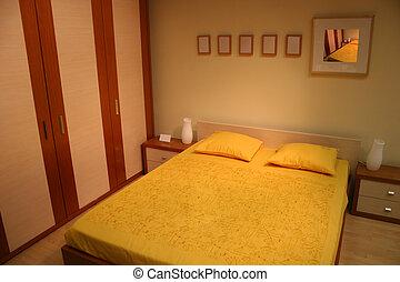 marrón, amarillo, dormitorio