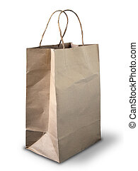 marrón, arrugado, peper, bolsa