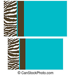 marrón, azul, zebra, tarjetas comerciales