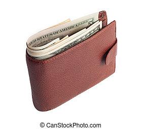 marrón, billetera, con, dinero, aislado, blanco