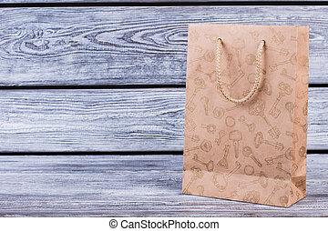 marrón, bolso de compras, con, copia, space.