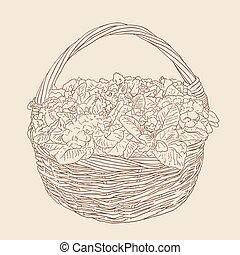 marrón, bosquejo, mimbre, ilustración, fondo., vector, cesta...