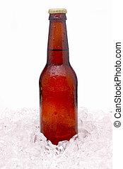 marrón, botella de cerveza, hielo