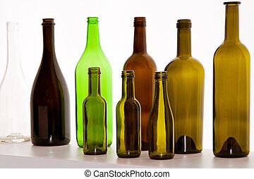 marrón, botellas