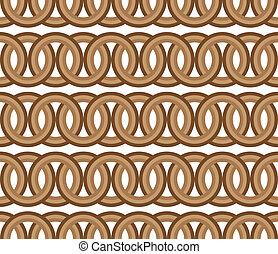 marrón, círculo, seamless, cadena, patrón