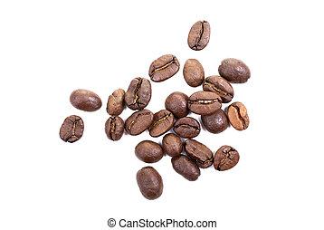 marrón, café, aislado, fondo., frijoles, asado, blanco