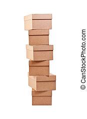 marrón, cajas, cartón