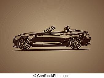 marrón, caliente, deporte, coche