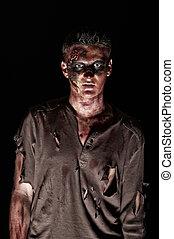 marrón, camisa, mirar, zombi