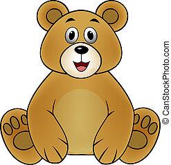 marrón, caricatura, oso