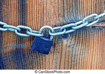 marrón, cerradura de cadena, tabla, hierro, pequeño, blanco