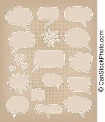 marrón, conjunto, discurso, plano de fondo, burbujas, cartón